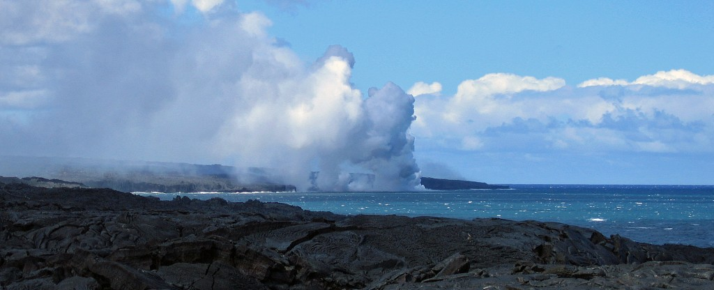 Lava flowing to the sea