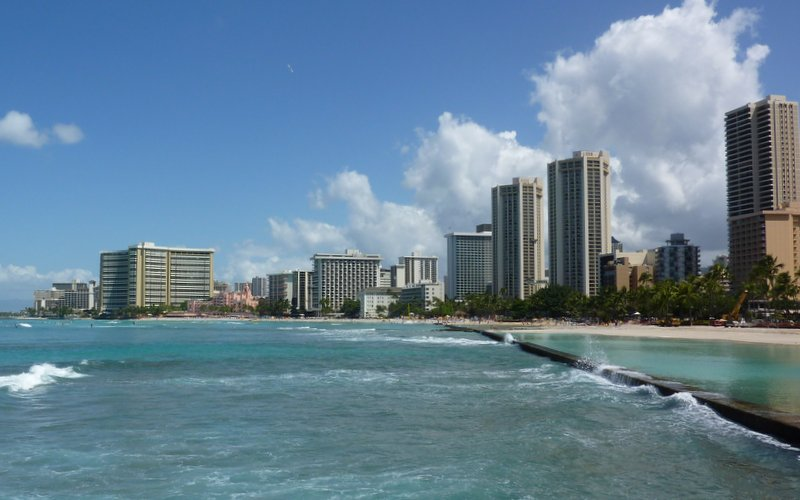 Hawaii resorts along Waikiki Beach
