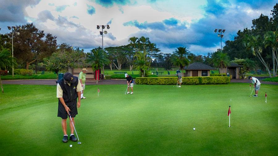 People golfing in Hawaii
