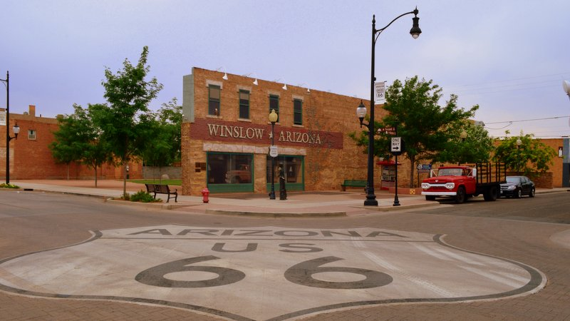 Tribute to the Eagles' Standing on the Corner song in Winslow Arizona on Route 66
