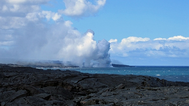Lava flowing into the ocean - Hawaii