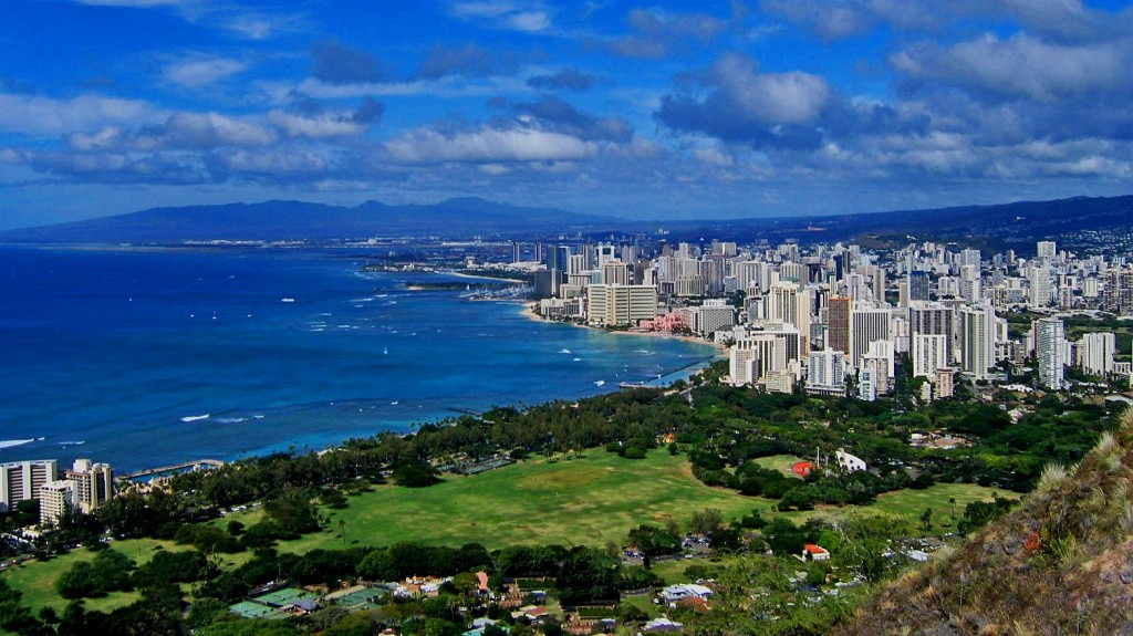 A view of Oahu, the most populated of all the Hawaiian Islands.